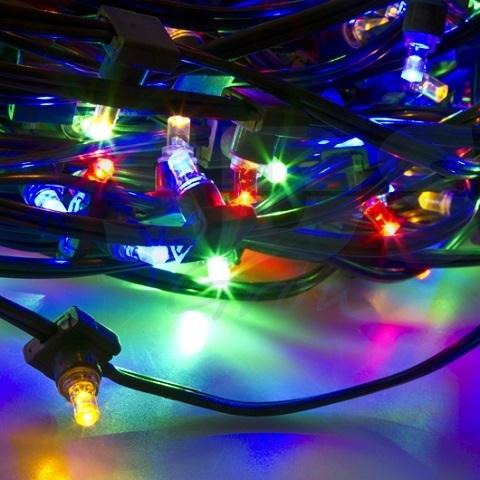 Светодиодный клип лайт Мульти, 12V, без колпачка, шаг диодов 150мм, провод темный, бухта 100 метров, без трансформатора.
