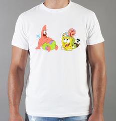 Футболка с принтом мультфильма Губка Боб Квадратные Штаны/ Спанч Боб (SpongeBob SquarePants) белая 008