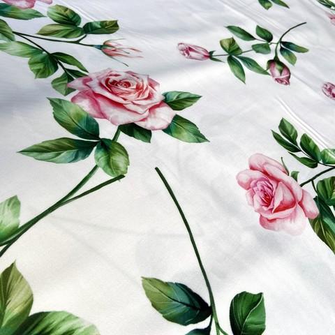 Мерный лоскут 1,3 м хлопок белый с розами 2142