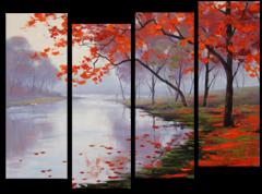 """Модульная картина """"Отражение в озере"""""""