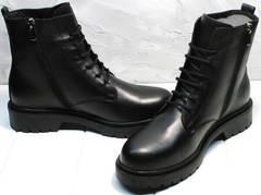 Стильные ботинки похожие на мартинсы женские демисезон Misss Roy 252-01 Black Leather.