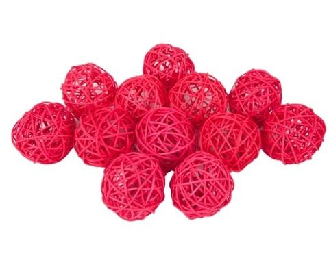 Плетеные шары из ротанга (набор:12 шт., d6 см, цвет: красный)