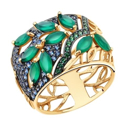 715693 - Кольцо из золота с агатами и фианитами
