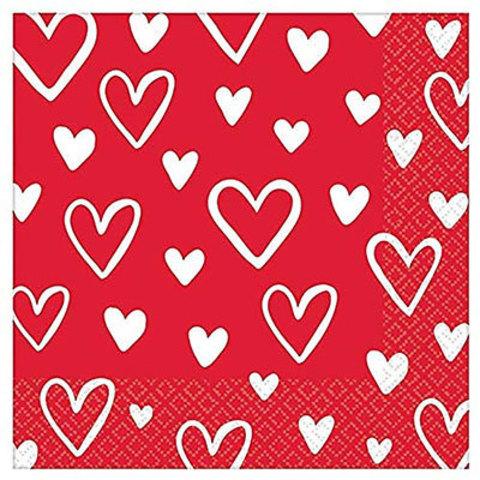 Салфетки малые День Сердец, 16 штук