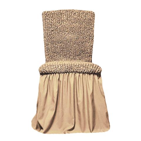 Чехлы на стулья универсальные, комплект из 6 штук, бежевый