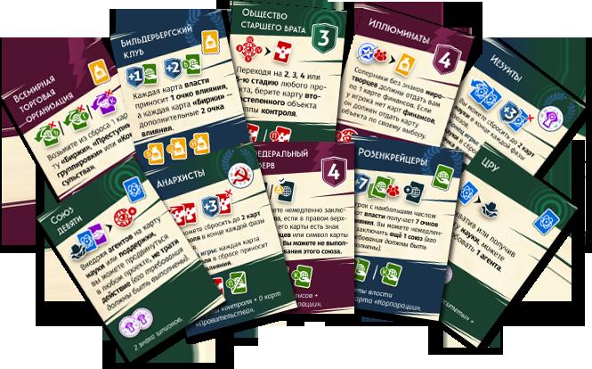 Настольная игра Тайная власть. Новый мировой порядок: карточки