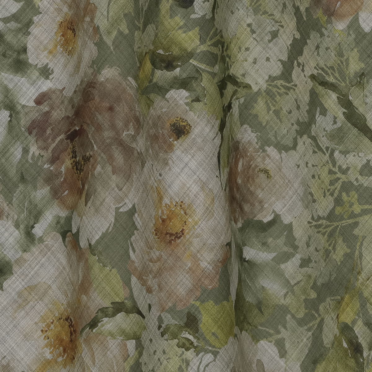 Тонкая шерстяная ткань с цветами в зелёных оттенках