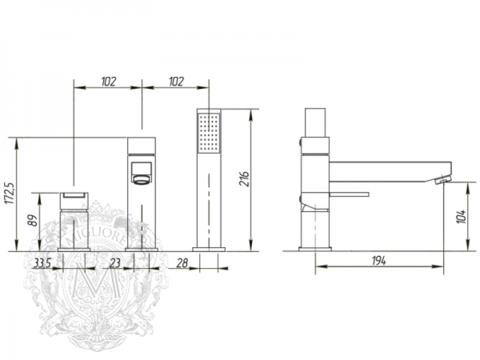Смеситель на борт ванны 3 отв. Migliore Kvant ML.KVT-2755