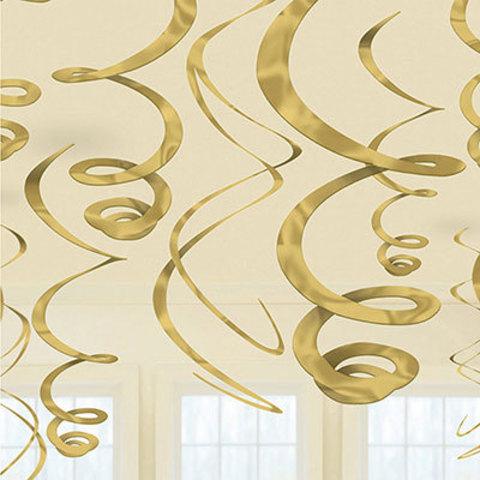 Спирали золотые Gold, 55 см, 12 штук