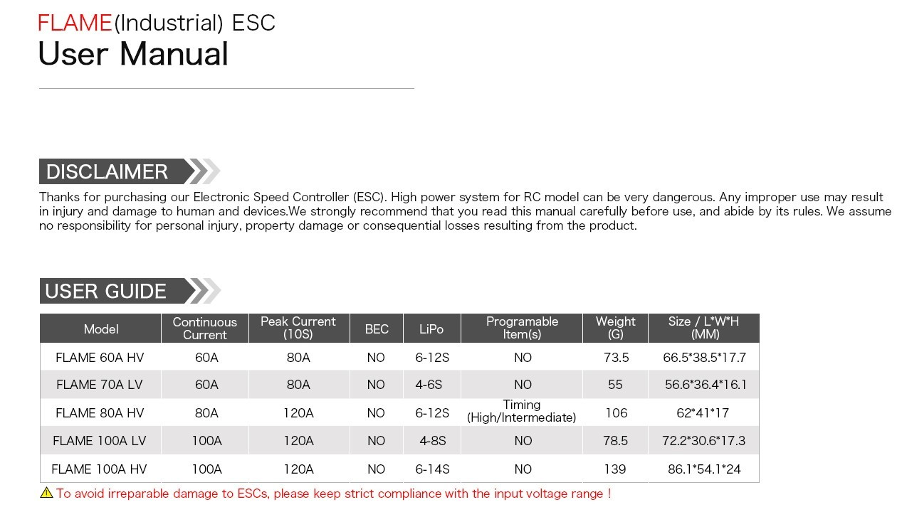 Характеристики ESC регулятора мотора T-Motor 70A Flame LV