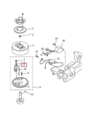 Катушка генератора  для лодочного мотора T2,5 SEA-PRO (5-9)