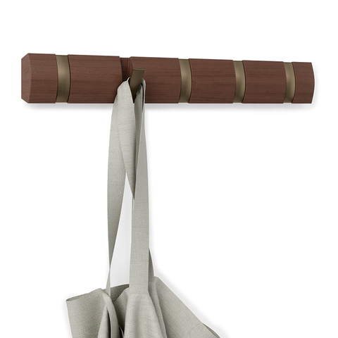 Вешалка настенная горизонтальная Flip 5 крючков коричневая