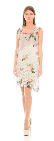 Фото легкое платье с ассиметричным краем и цветочным принтом - Платье З112-167 (1)