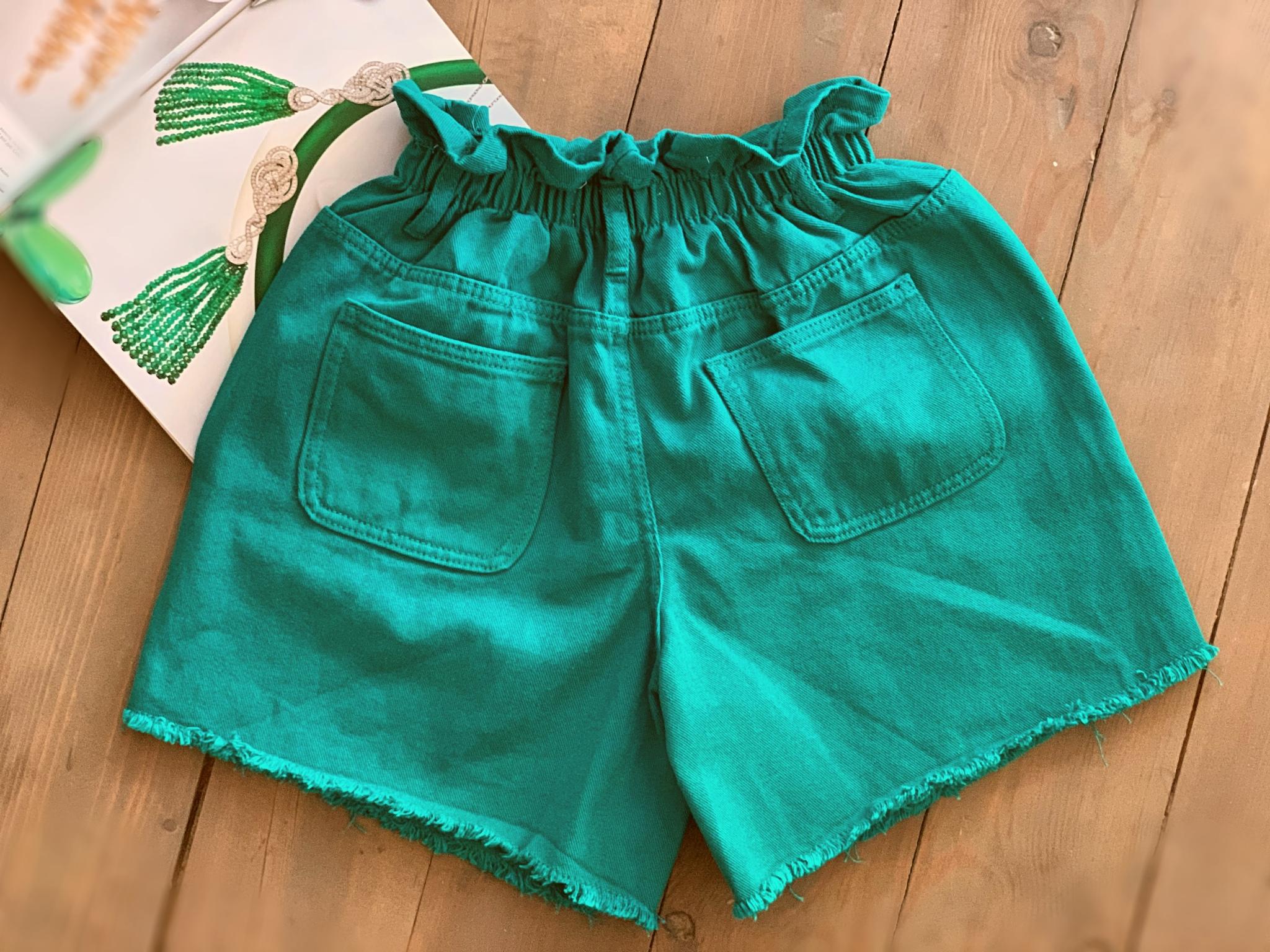 Джинсовые шорты на резинке, зелёный