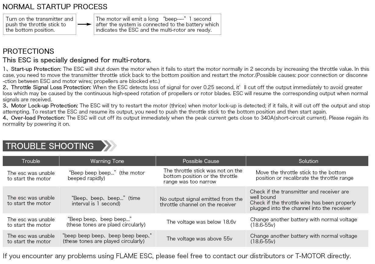 Инструкция к ESC регулятор мотора T-Motor 70A Flame LV