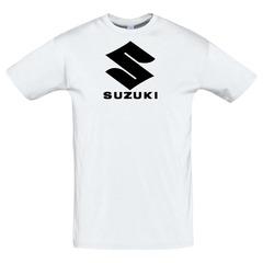 Футболка с принтом Сузуки (Suzuki) белая 2