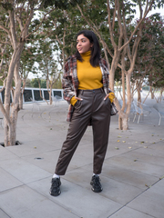 Кожаные коричневые штаны женские интернет магазин