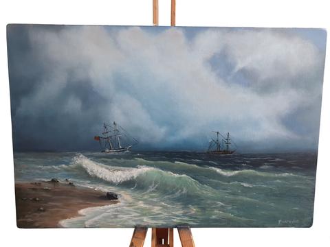 Картина холст масло Утро на море
