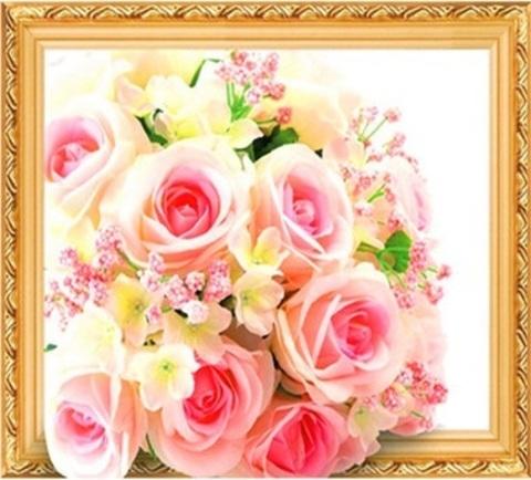 Алмазная Мозаика 5D 40x50 Нежно розовый букет (арт.LT0522)
