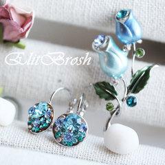 Серьги с голубыми кристаллами Сваровски
