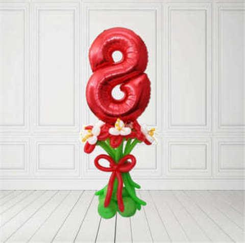 Композиция из шаров с цифрой 8
