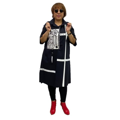 Платье Каскад черно-белое