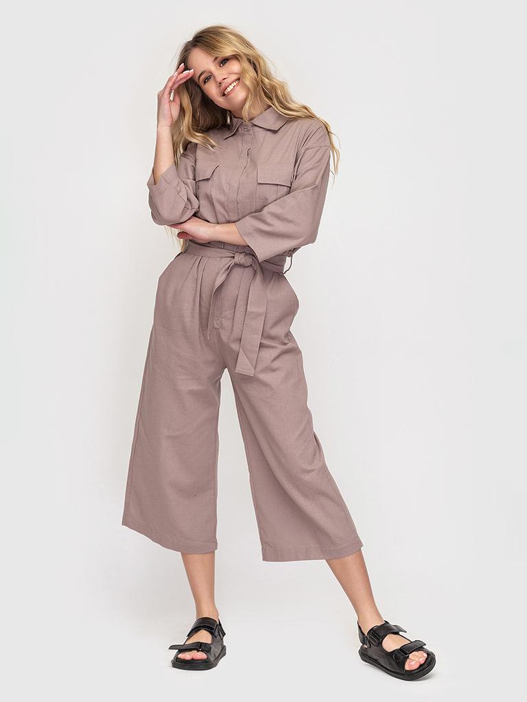 Комбинезон льняной бежевый YOS от украинского бренда Your Own Style