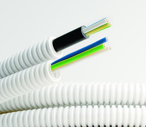 Прокладка кабеля до 4 мм2  в гофротрубе