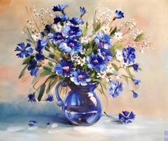 Картина раскраска по номерам 30x40 Синий букет цветов