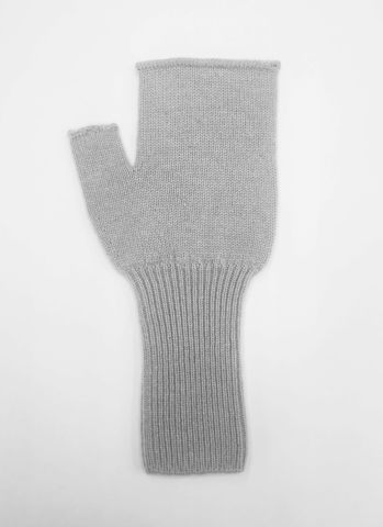 Женские митенки серого цвета из 100% кашемира - фото 1
