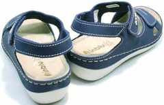 Женские спортивные босоножки кожаные на танкетке Inblu CB-1U Blue.
