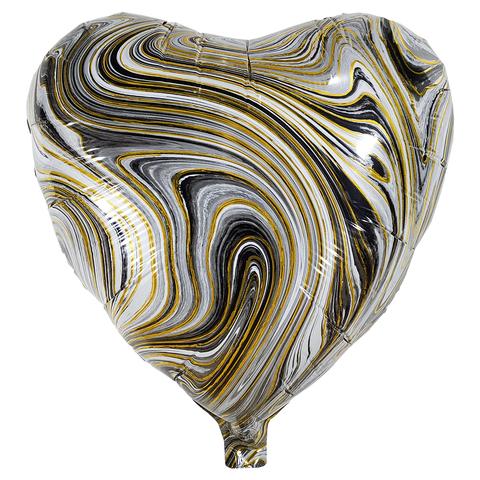 Воздушный шар Сердце - Агат (Черный)