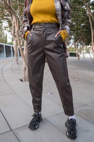 Кожаные коричневые штаны женские nadya