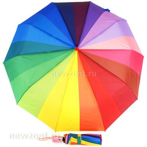 Женский зонт-радуга автомат M.N.S. с розовой рукояткой