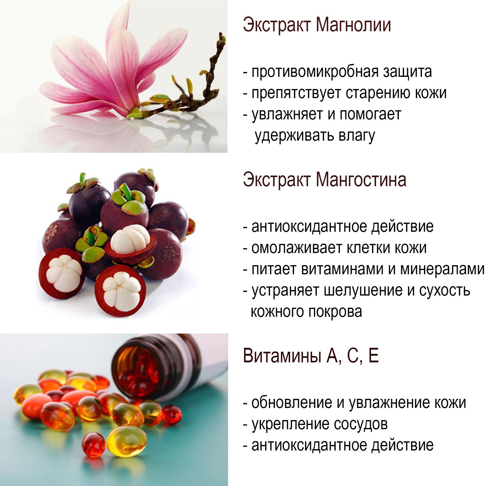 Крем-гель для душа с экстрактами магнолии и мангостин, 400 мл