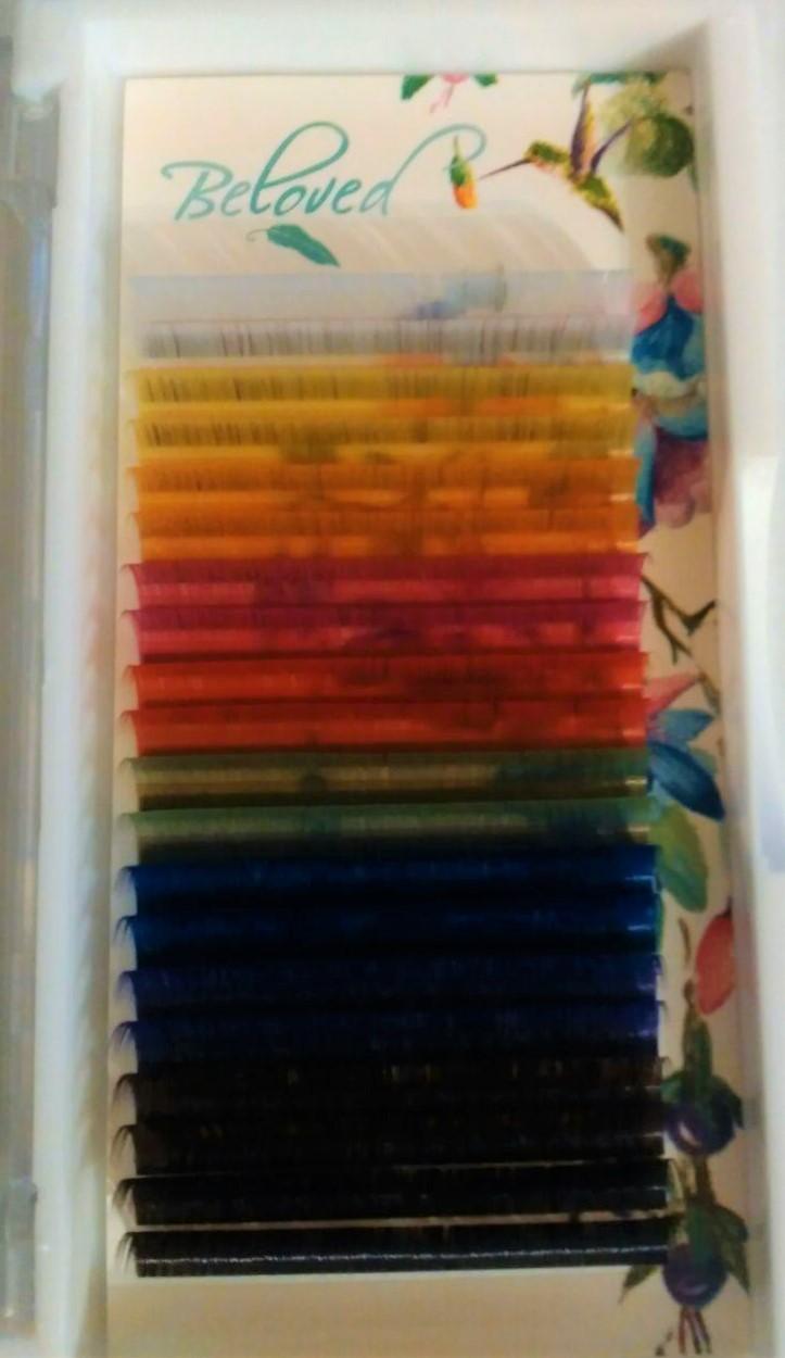Ресницы Just Beloved Lashes цветные микс C 0,10 , D 0.10