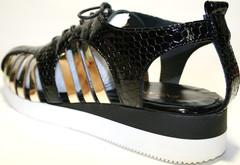 Женские босоножки спортивные. Кожаные босоножки на низком ходу. Черные босоножки Encanto - Black Gold