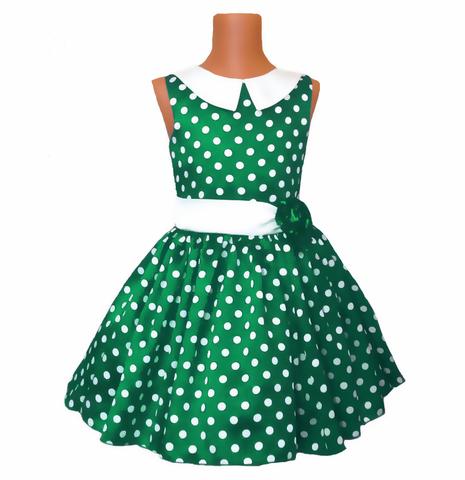 Платье зеленое в горох с воротничком