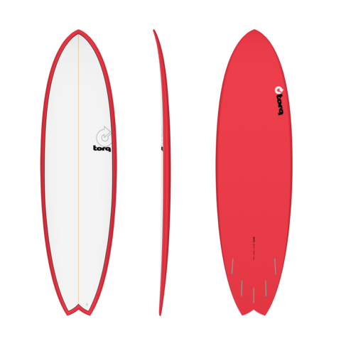 TORQ 6'10'' Fish - Color Pinline (white deck/red pinline)