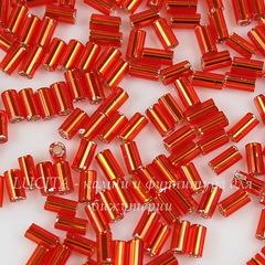0025 Бисер японский TOHO Стеклярус (Bugle) #1, красно-рубиновый с внутренним серебрением