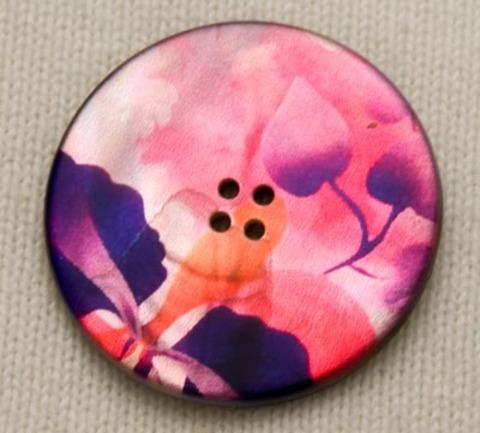 Пуговица с акварельными цветами в розово-пурпурных тонах, с оранжевым, роспись по перламутру, 34 мм