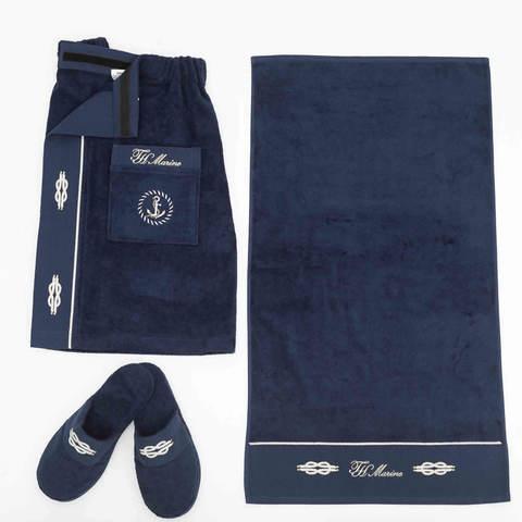 MARINE синий набор мужской для сауны TIVOLYO HOME Турция