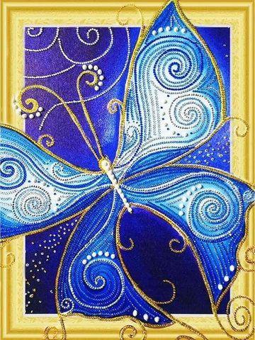 Алмазная Мозаика 5D 40x50 Синяя бабочка