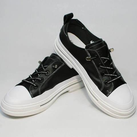 Женские кеды туфли кожаные. Черно белые кроссовки женские летние туфли на низком каблуке El Passo SB-W