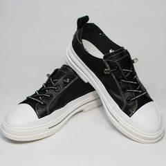 Женские кеды туфли на низком каблуке El Passo sy9002-2 Sport Black-White.