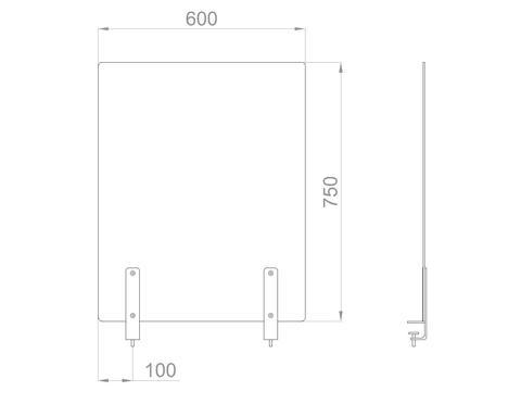 Настольный экран на струбцинах Ш.600мм