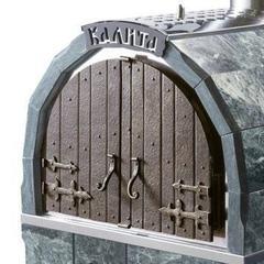 Печь Калита М арочная (Дверка - чугунная, с панорамным стеклом, облицовка змеевик)