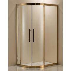 Душевое ограждение Grossman PR-120GR золото, 120х80 R, с раздвижными дверьми, ассиметричное