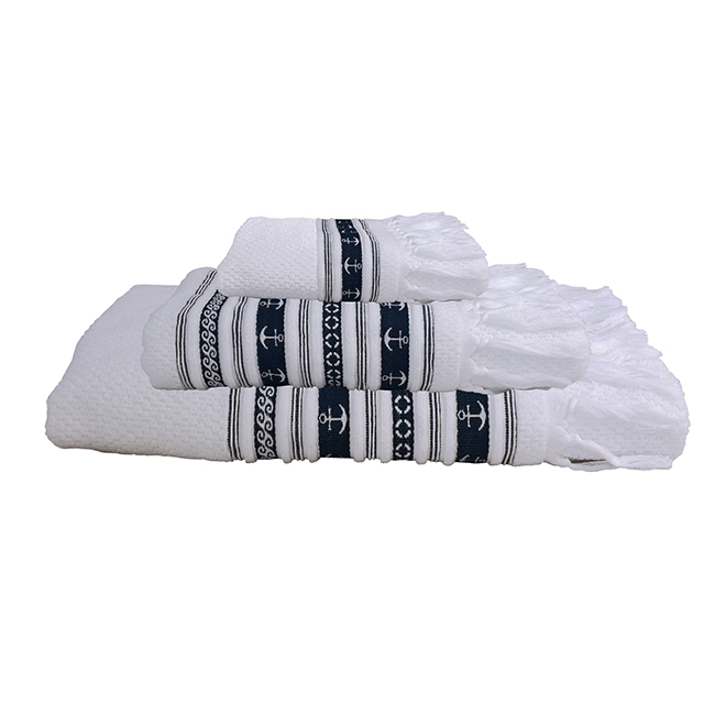 Santorini anchors towel set / white