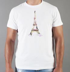 Футболка с принтом Париж, Франция, Эйфелева башня (France/ Paris) белая 007